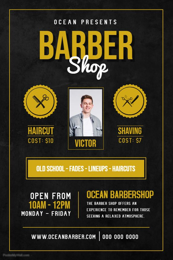 Mens Hair Salon Advertisement Poster Template Barber Shop Flyer