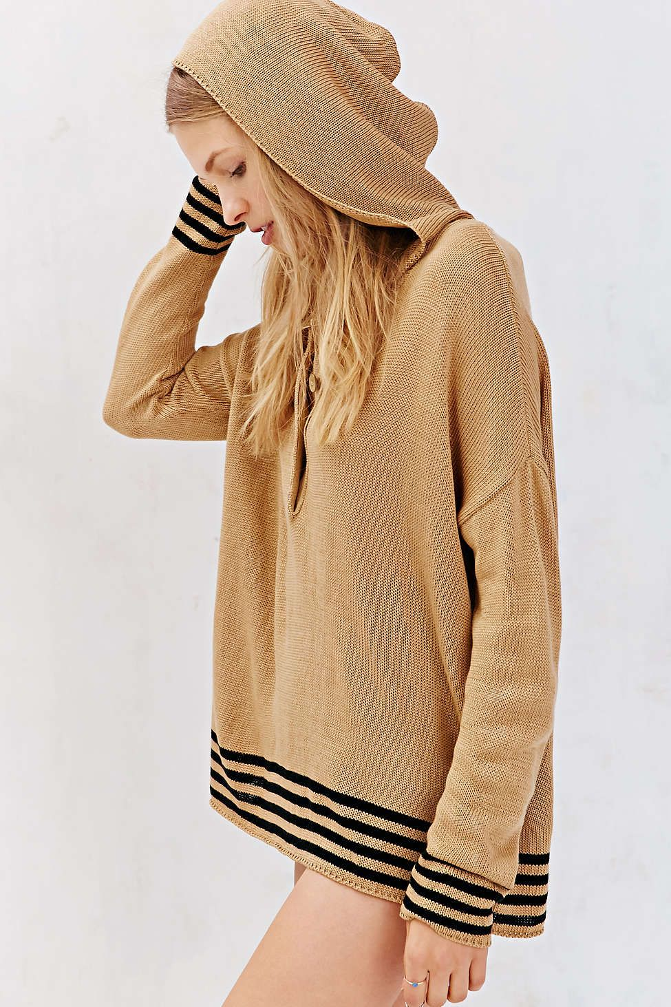 BDG Striped Henley Hooded Top - Urban Outfitters