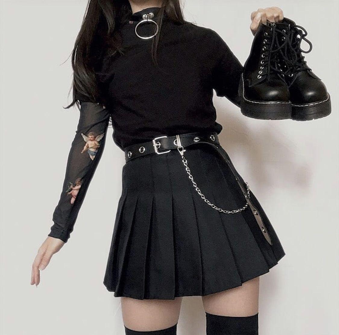 Czarna Tennis Skirt Ze Szlufkami In 2020 Tennis Skirt Outfit Black Skater Skirt Outfit Womens Skirt Outfits