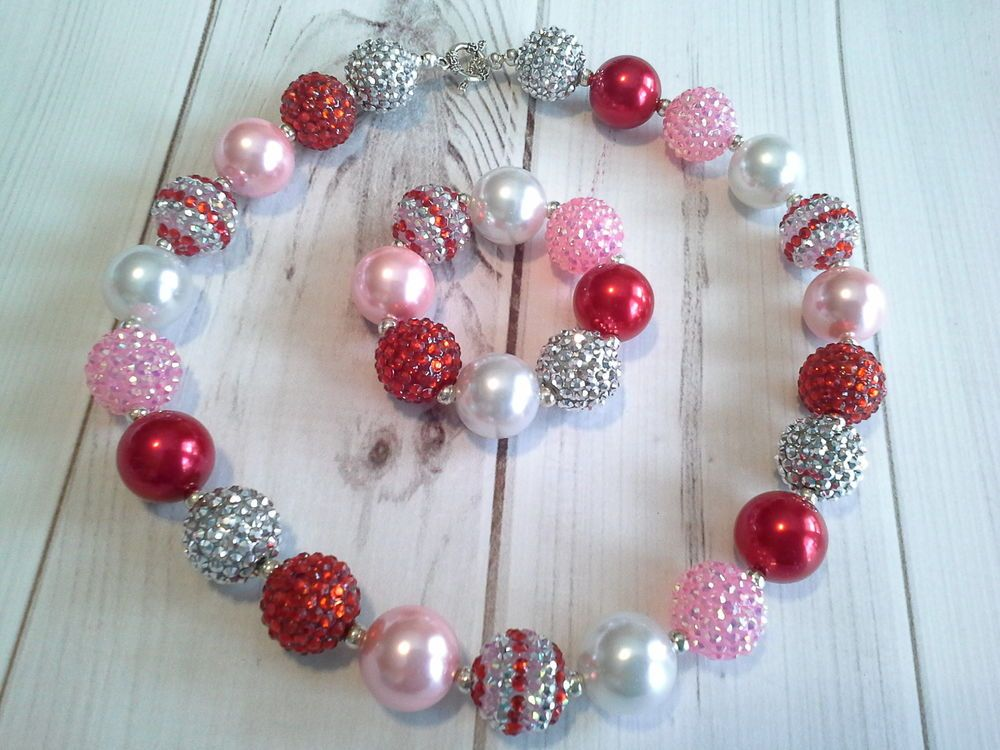childrens girls bubblegum chunky bead necklace set lot christmas sparkle holiday #Unbranded