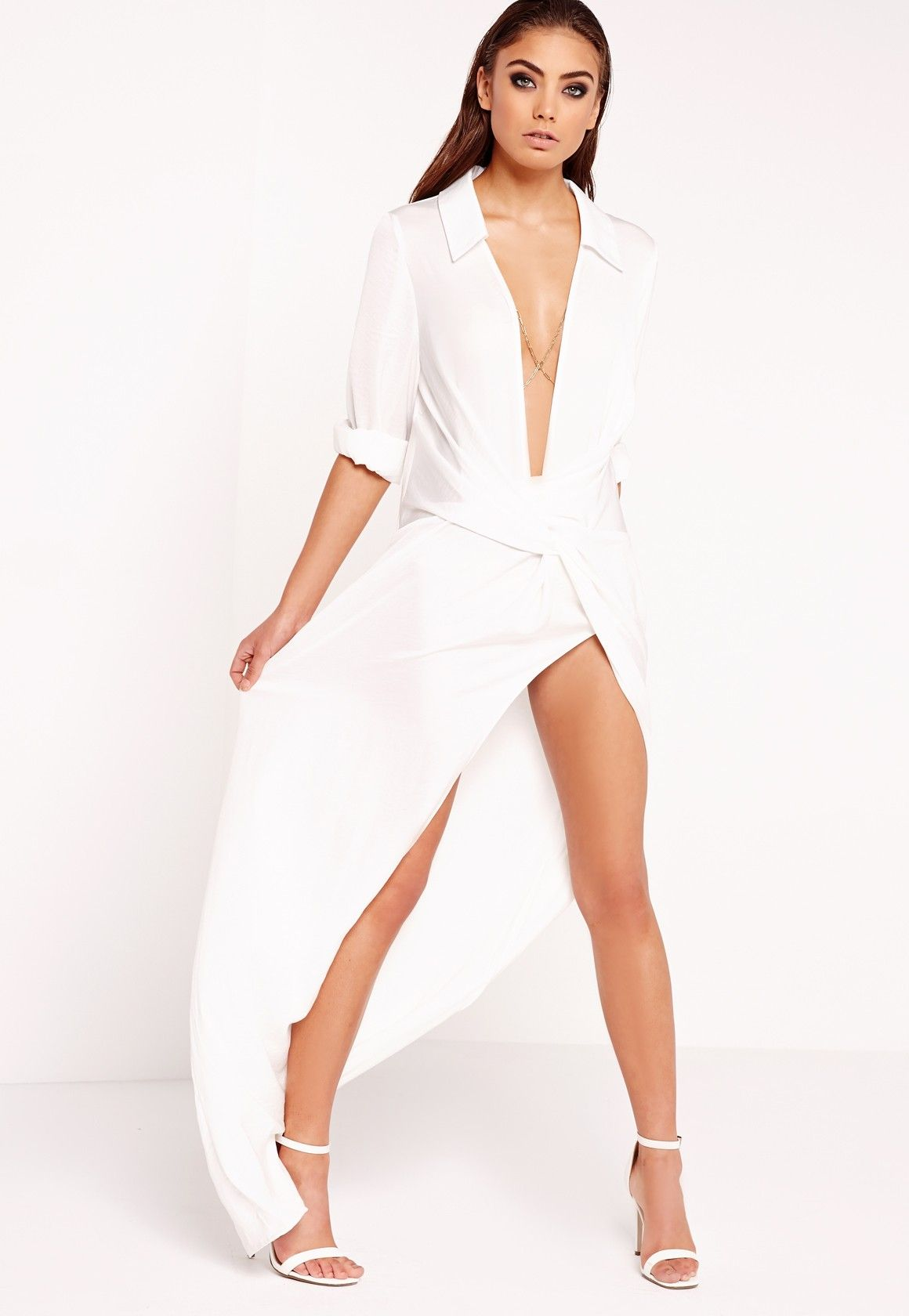 Missguided Peace Love Wrap Front Shirt Maxi Dress White