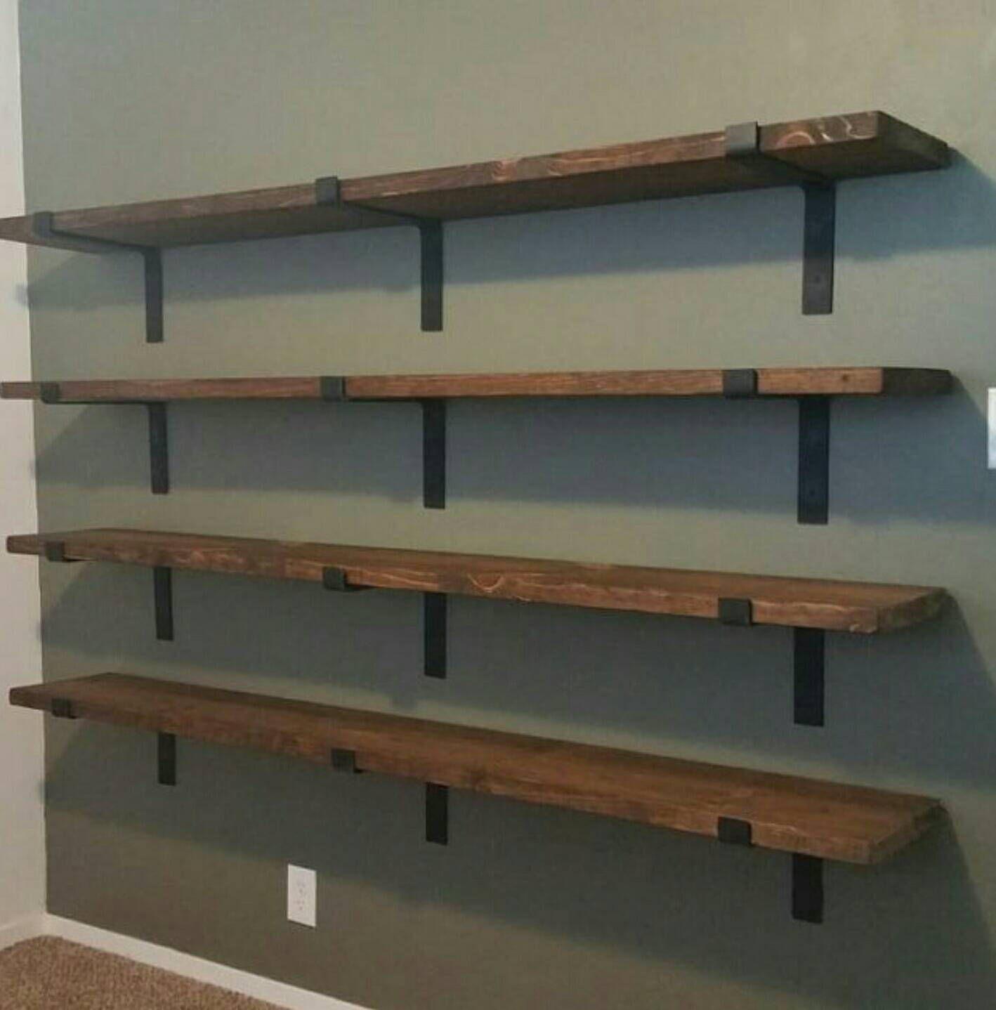 Set of 2 Metal Shelf Brackets Heavy Duty Industrial Rustic Steel Shelving