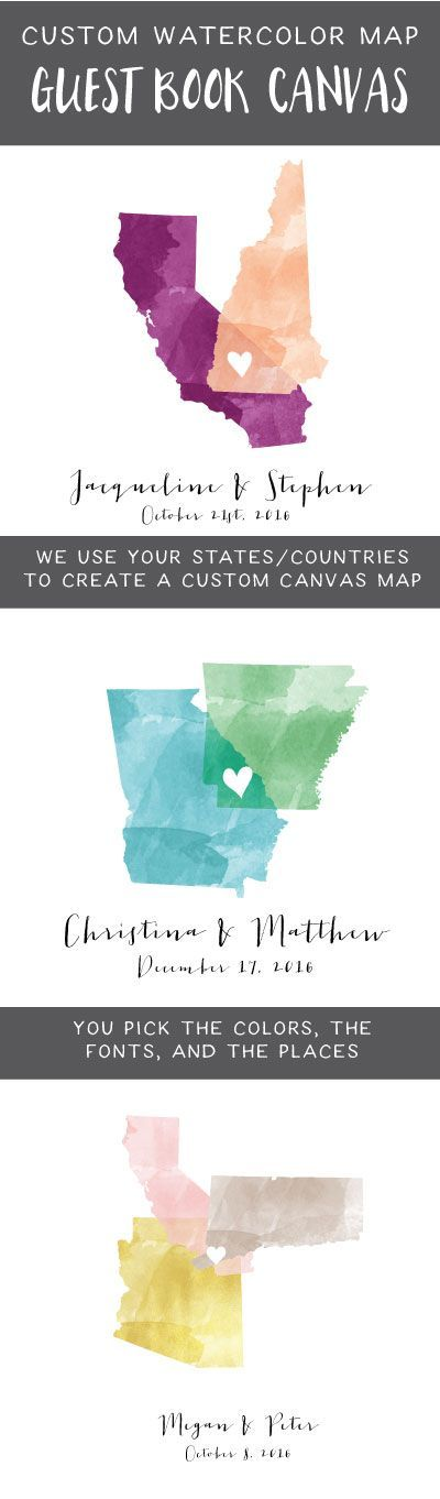 Personalized wedding guest book watercolor maps with the states or countries of your choice overlapping where your cities meet!! These guest book alternatives are the ultimate wedding keepsake.