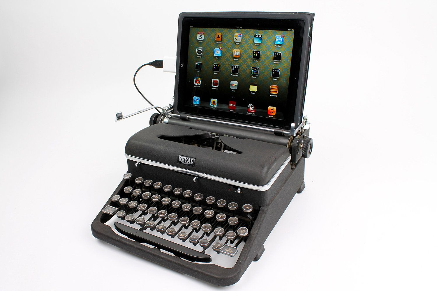 This antique typewriter has been modified to work as a USB Keyboard