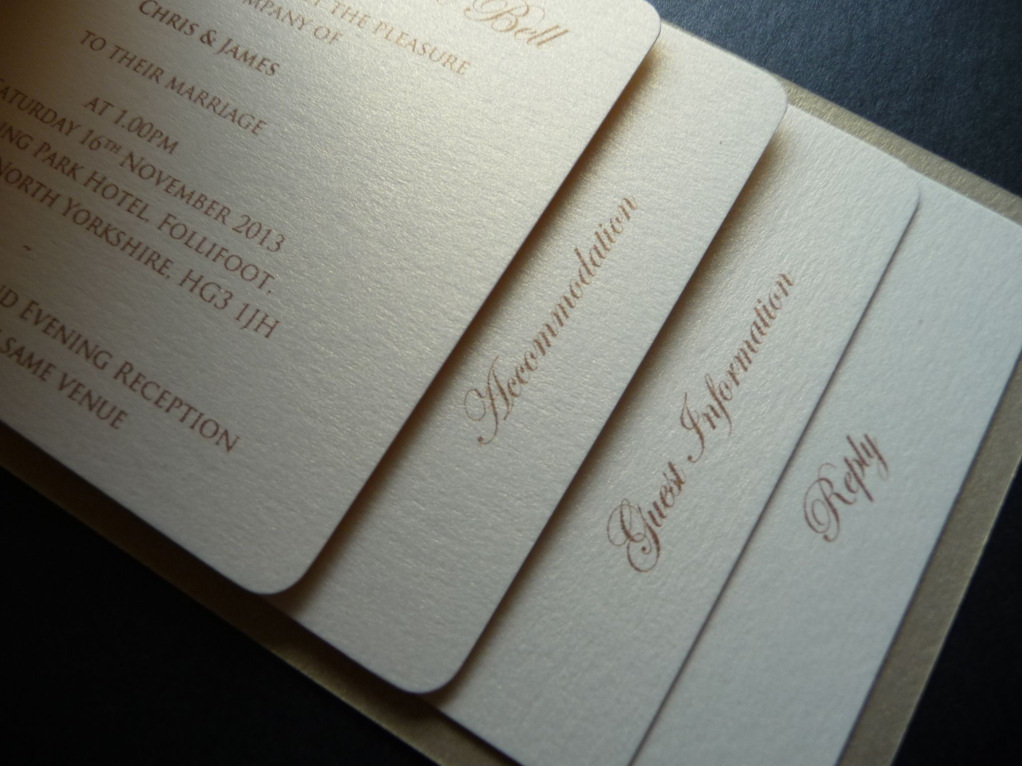 Ivory Gold Cheque Book Wedding Invitations Staggered Inserts
