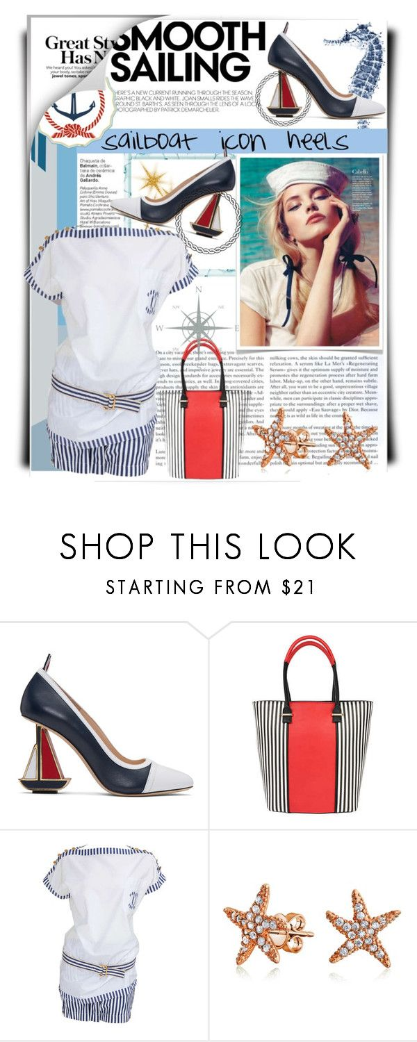 """Sailboat Icon Heels"" by ladygroovenyc ❤ liked on Polyvore featuring Thom Browne, Pia Rossini, Chanel, Bling Jewelry, sailing, fashionset, embellishedshoes and summer2017"