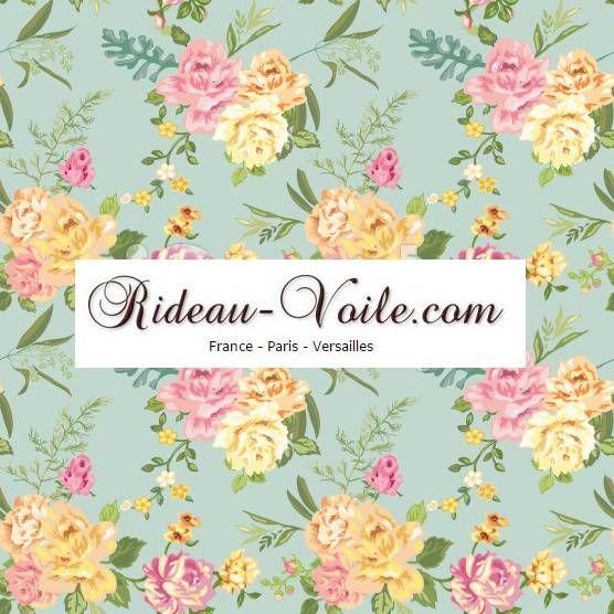 Rideau fleurs pastels jaune rose sur fond bleu tissu - Rideau rose pastel ...