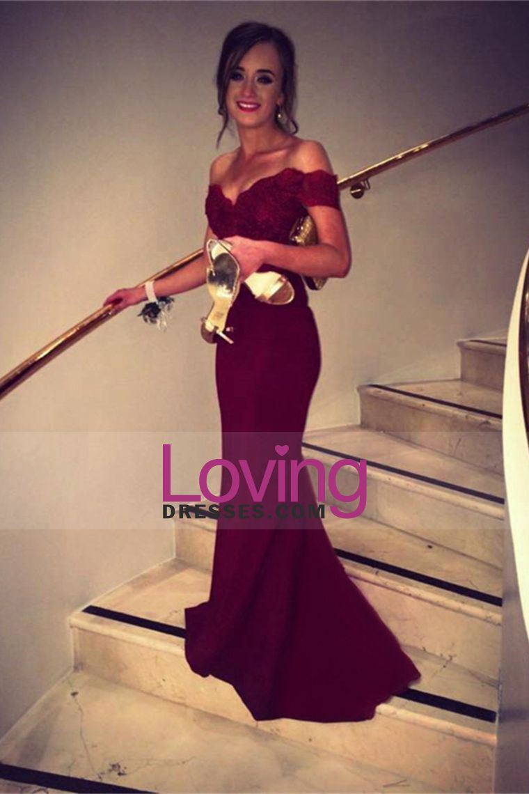 off the shoulder prom dresses spandex burgundymaroon sweep