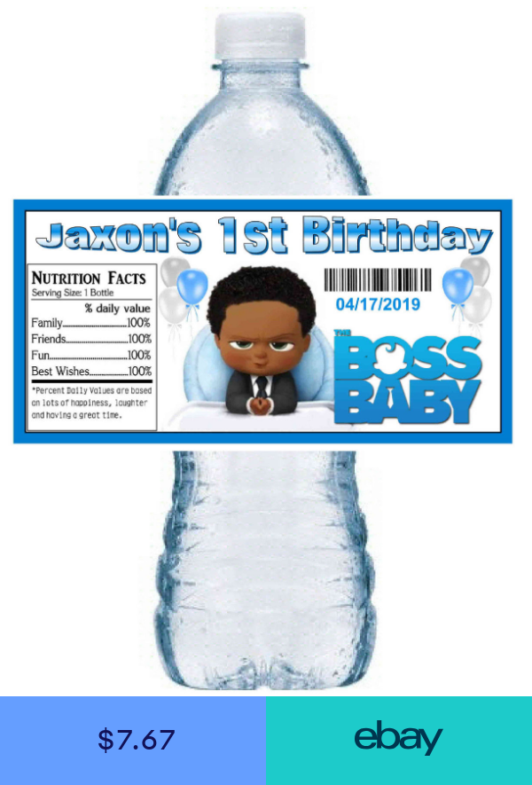 20 The Boss Baby Birthday Party Favors Water Bottle Labels African American Party Favors Baby Birthday Baby Birthday Party Baby Birthday Party Boy