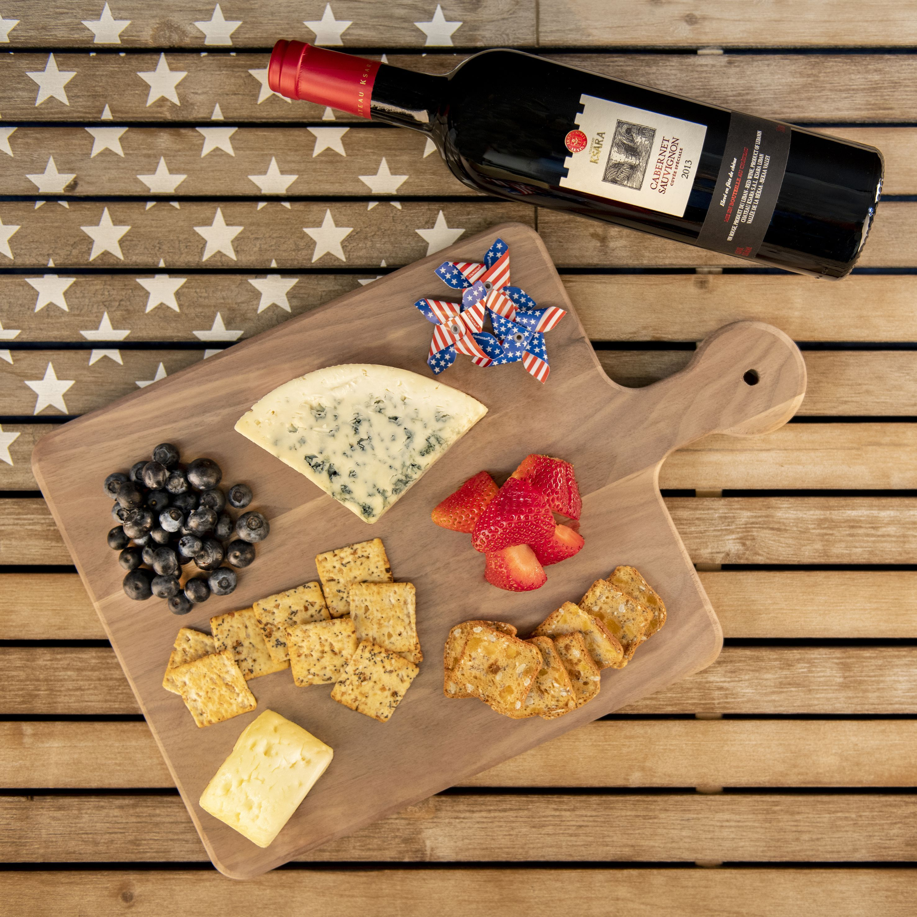 Red White & Blue Party Platter #labordayfoodideas memorial day charcuterie board, memorial day party, chateau ksara winery, lebanese wine, red wine, cabernet sauvignon, cheese board, 4th of july party ideas, 4th of july food ideas, red white and blue theme, charcuterie board design, labor day party #labordayfoodideas