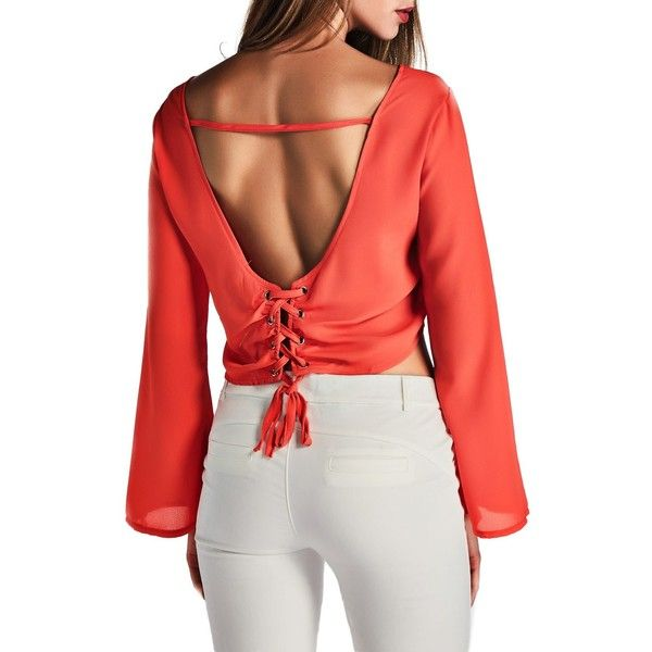 bfbceb0e25021 Rotita Open Back Long Sleeve Orange Blouse ( 23) ❤ liked on Polyvore  featuring tops