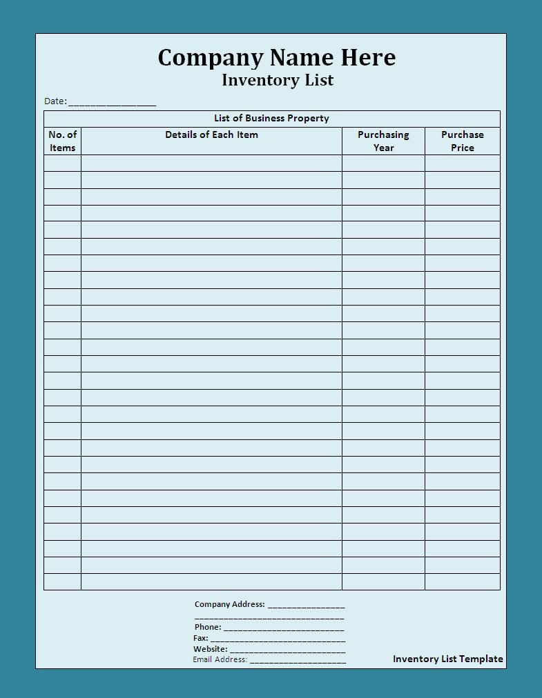 Beautiful Free Inventory List Template Free Word Templates XtSTK04I