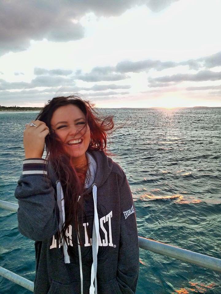 Happy! Ocean, wind blown, crazy hair