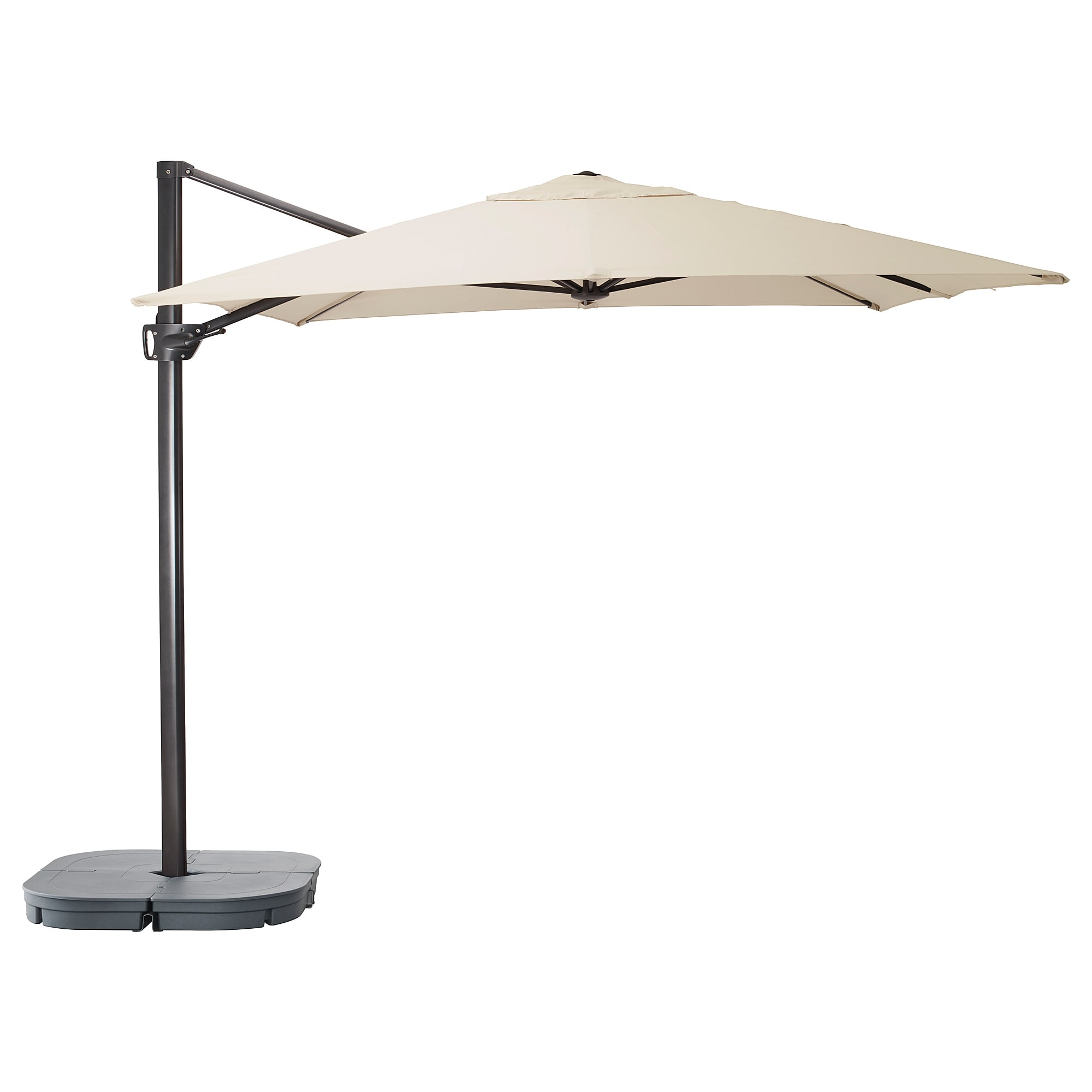 Seglaro Svarto Hanging Umbrella With Base Tilting Beige Dark Gray Ikea Patio Umbrellas Patio Umbrella Offset Patio Umbrella