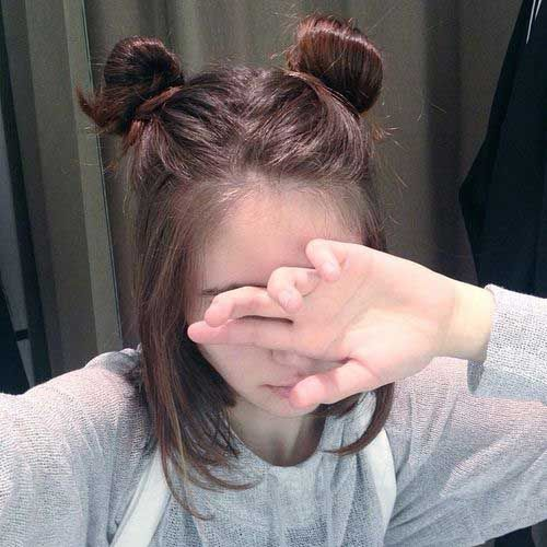 Cute Bun Hairstyle for Short Hair