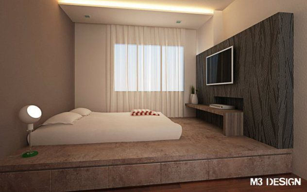 Elevated Platform Bed That Helps To Save Space And Maximise Room Usage Renovation Ideas