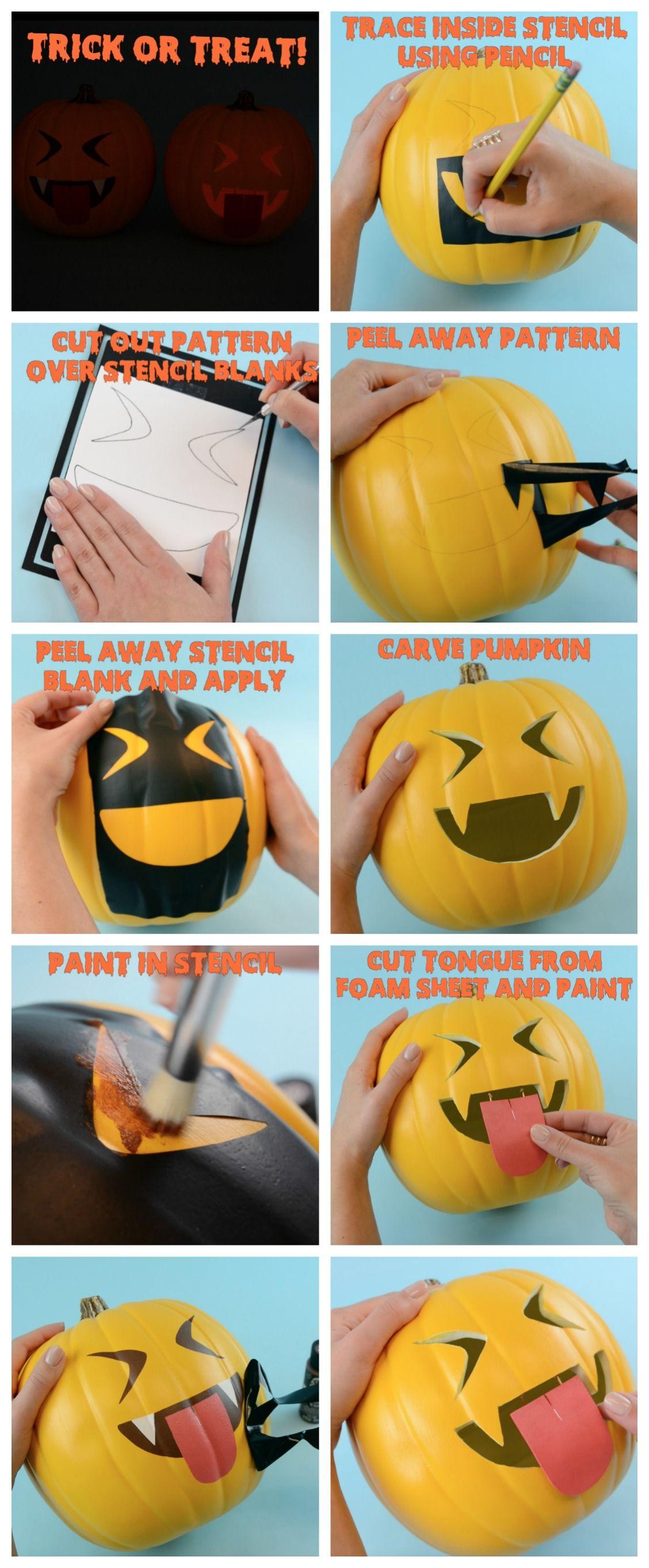 DIY Vampire Emoji Pumpkin both carve and no carve using a stencil in