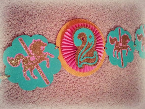 Carousel merry go round horse birthday banner aqua, mint green, pink and gold by FiestaBella, $30.00