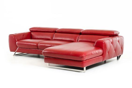 divani casa devon modern red leather sectional sofa stylish design furniture