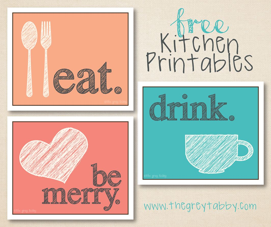 Free Kitchen Printables – Eat, Drink, and Be Merry | Kitchens, Merry ...