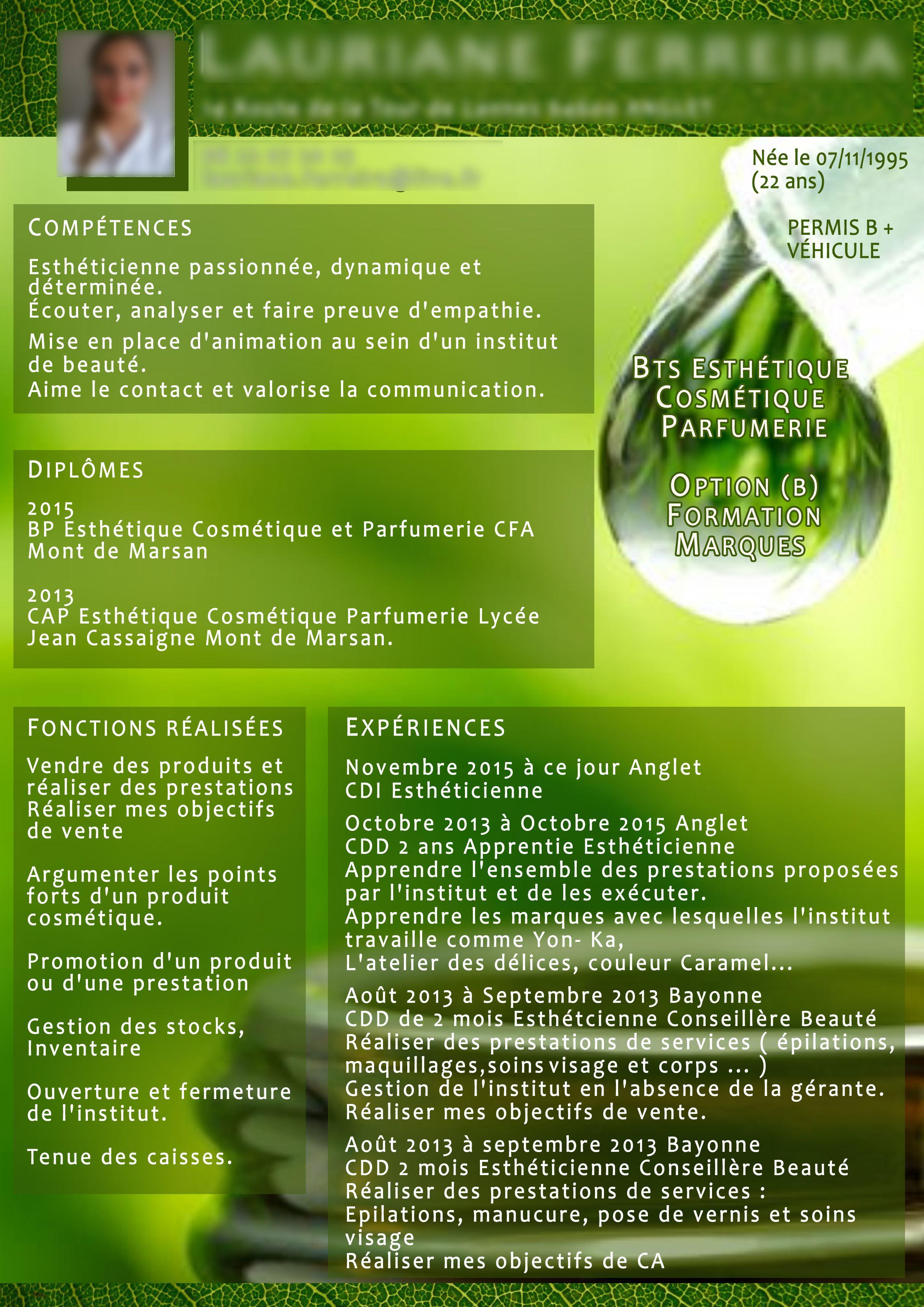 Creation Cv Bts Estheticienne Parapharmacie Creation Franck Laforest Free Invitation Cards Brochure Digital