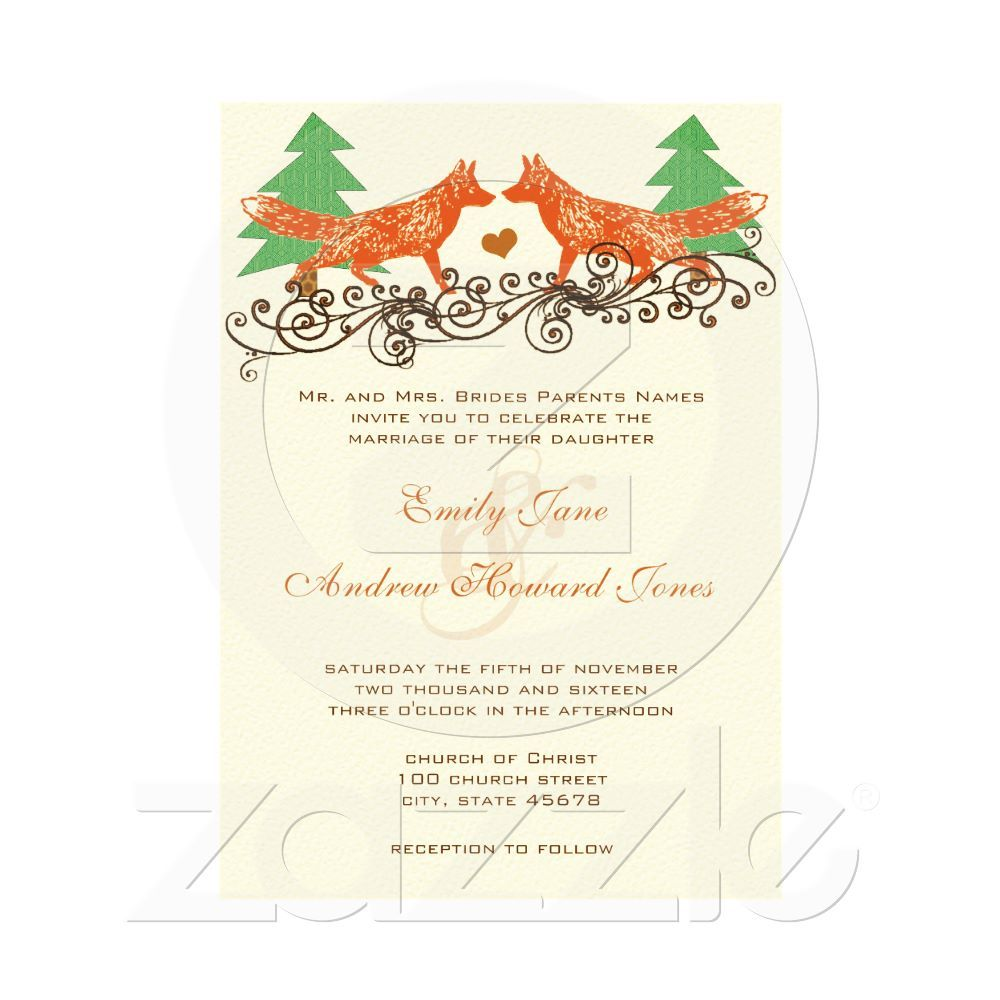 Vintage Foxes Wedding Invitation Fox Wedding Vintage Fox And Foxes