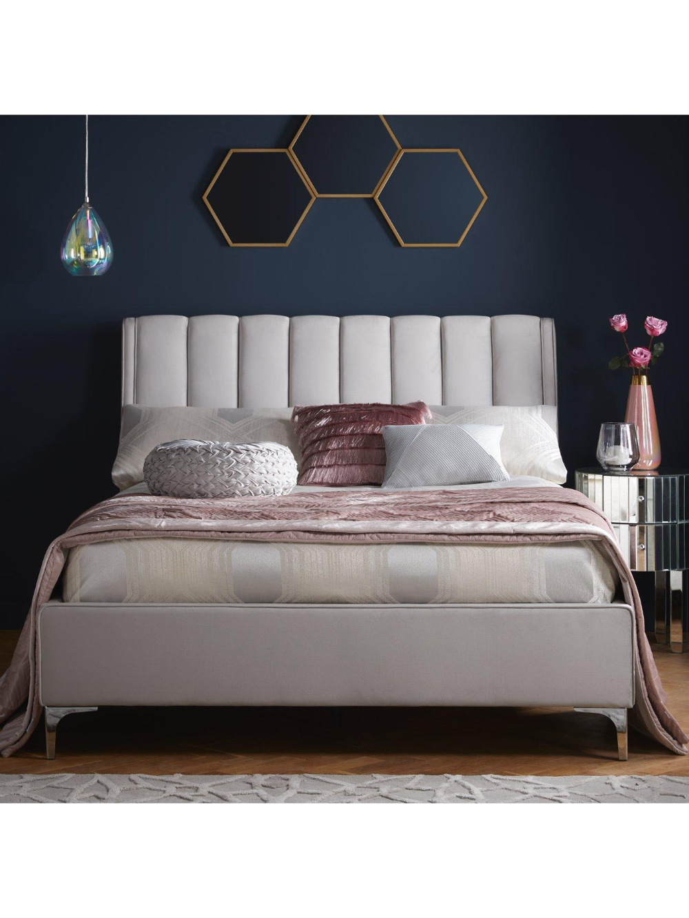 Phoebe Velvet Bed Frame with Mattress Options (Buy and