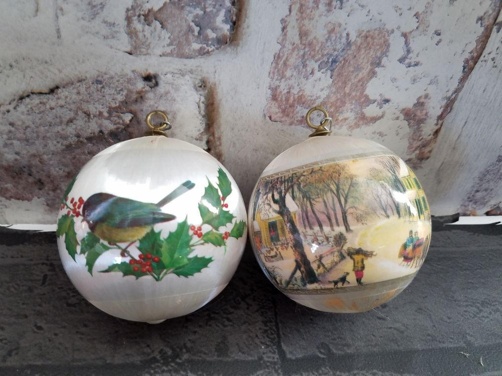 2 Satin Christmas Ornaments Currier & Ives American