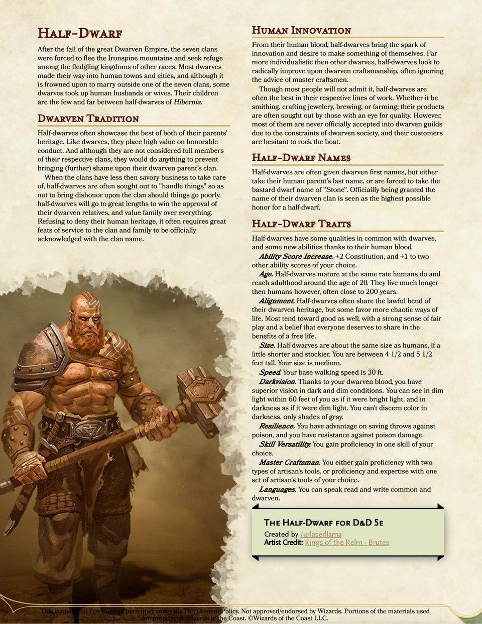 Reddit Unearthedarcana Half Dwarf With The Strength And Honor Of The Great Dwarven Clans And The Ingenuity And Determination Of Humans Nothing Ca Rollspel