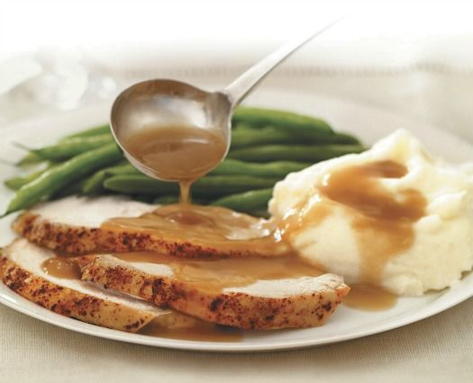 recipe: turkey in gravy over mashed potatoes [18]