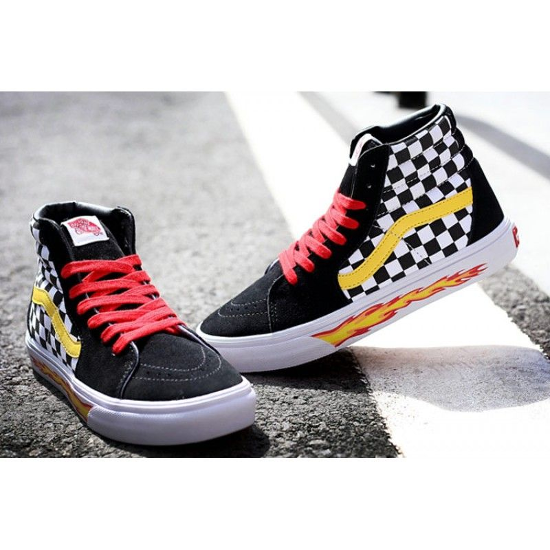 34976a3b04 VANS THRASHER Checkerboard Flame Yellow Red Black Sk8 Hi Suede Skateboard  Shoes