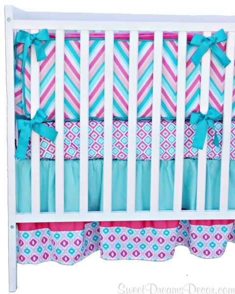 Lovely Pink and Aqua Crib Bedding