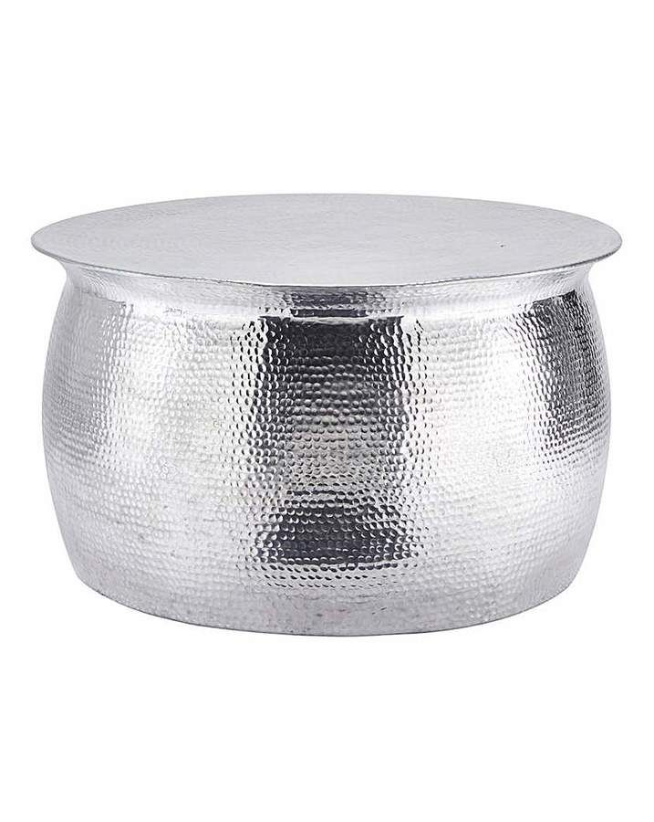 Hipster Hammered Silver Metal Coffee Table