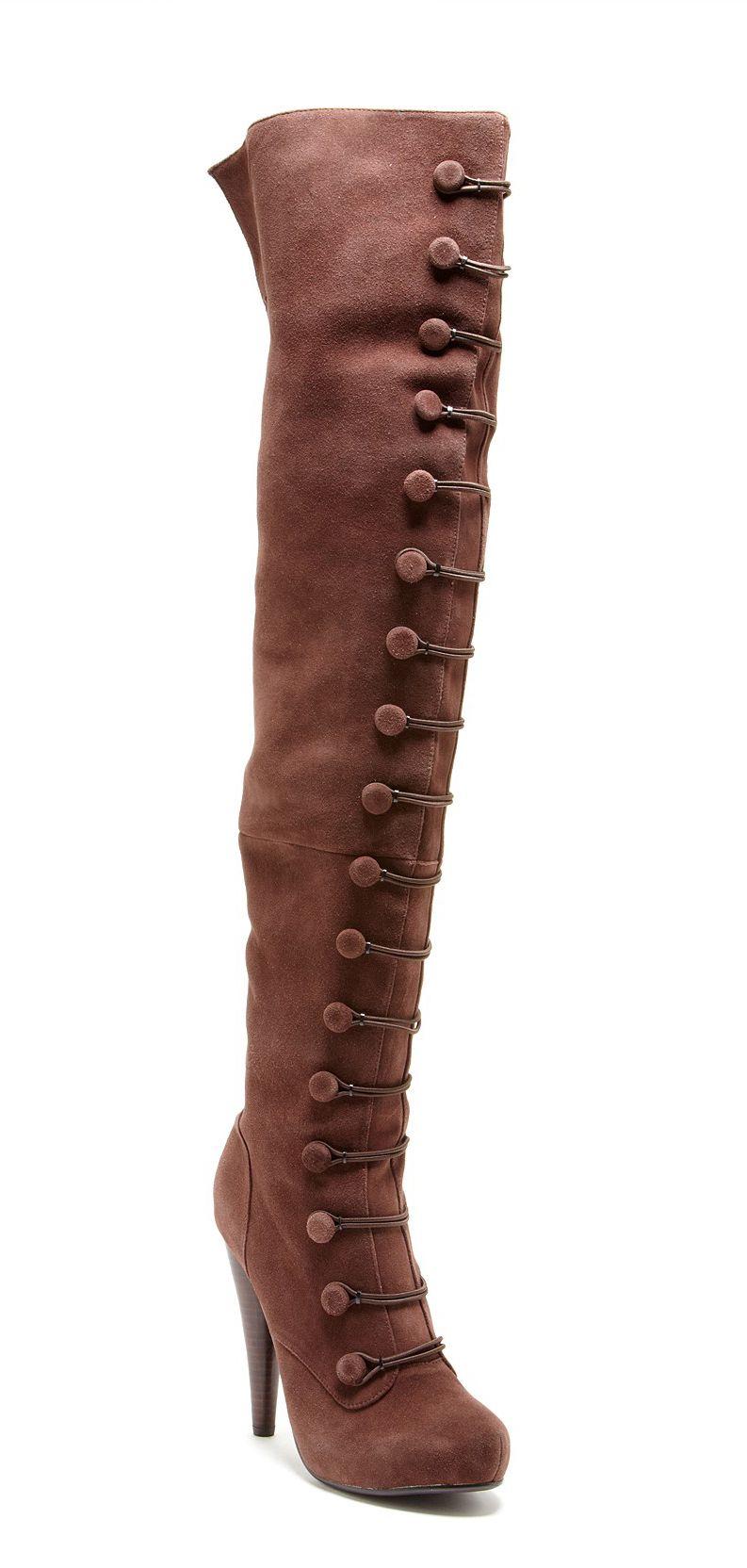 Button Thigh High Boots