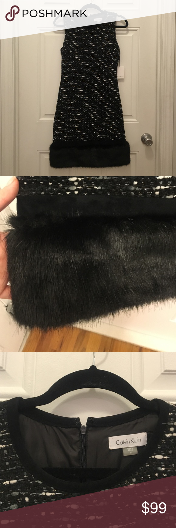 SALE!! NWT CK black boucle dress w/ fur trim Calvin Klein black boucle shift dress w/ fur trim Calvin Klein Dresses