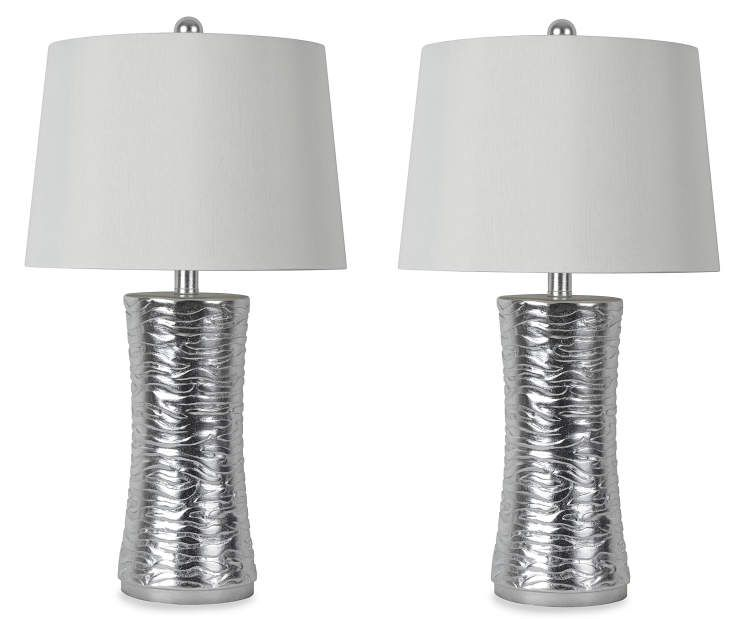 Super 25 Silver Finish Table Lamps 2 Piece Set At Big Lots Home Interior And Landscaping Eliaenasavecom