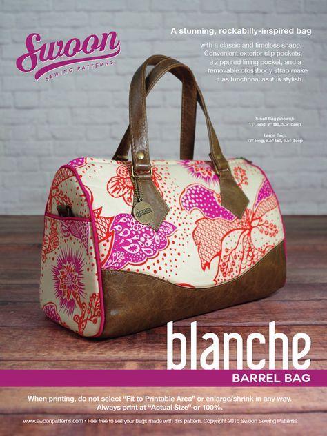 Swoon Patterns: Blanche Barrel Bag - PDF Vintage Bag Purse Sewing ...