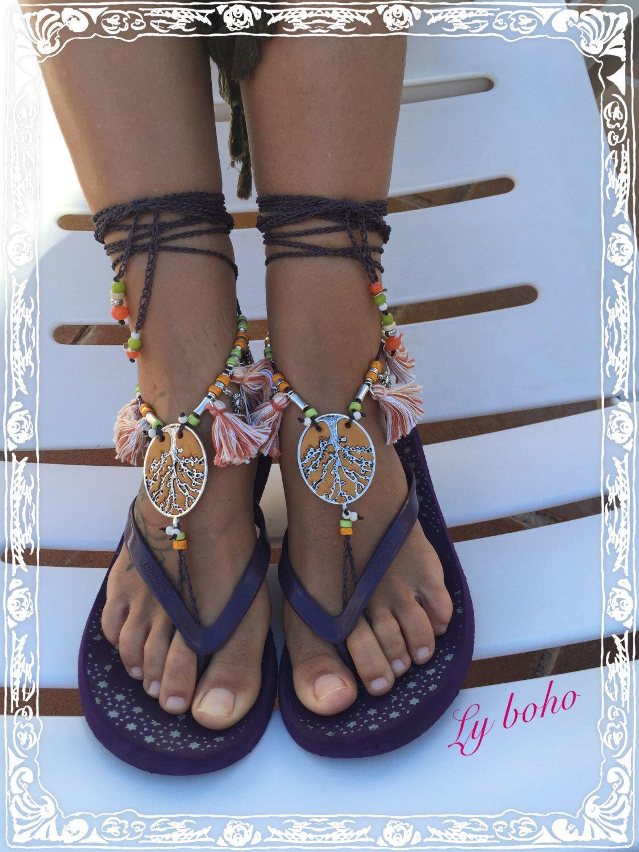 Barefoot Sandals Maday Ankle Sandal Boho Chic Crochet