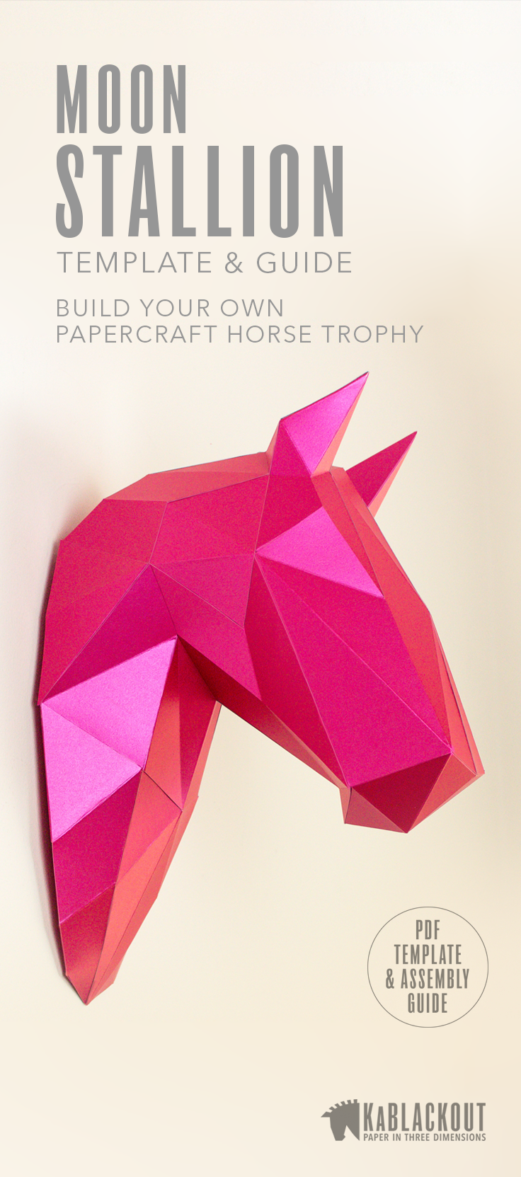Horse Wall Trophy Papercraft Template  Diy Horse Head  Low Poly Horse Trophy Head  3d Origami