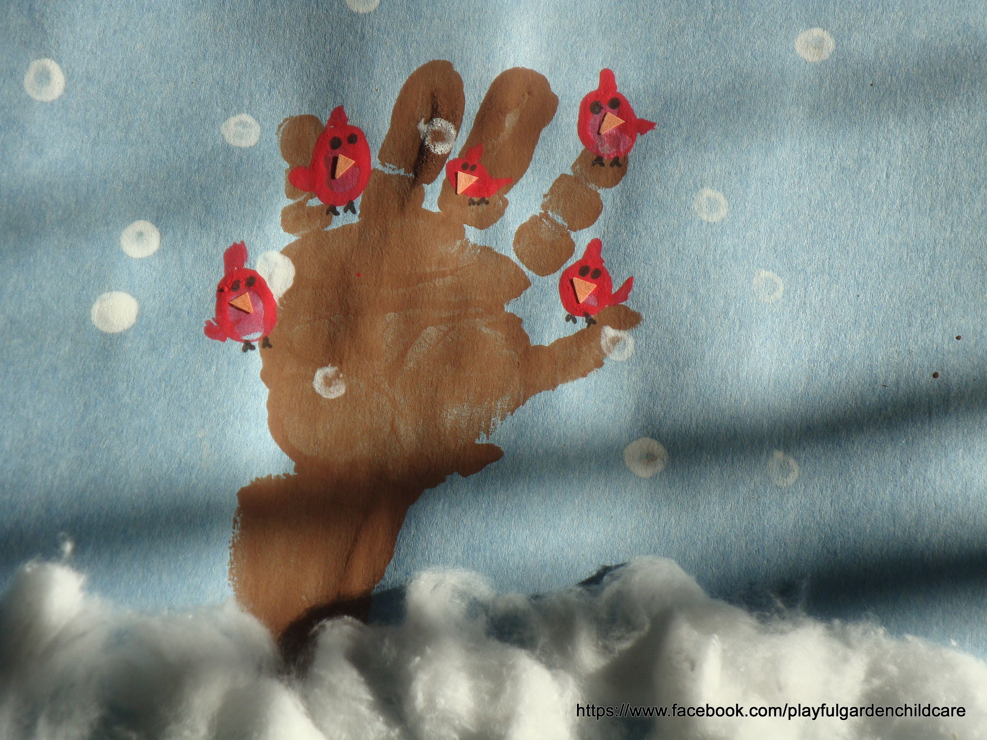 winter handprint trees with cardinals