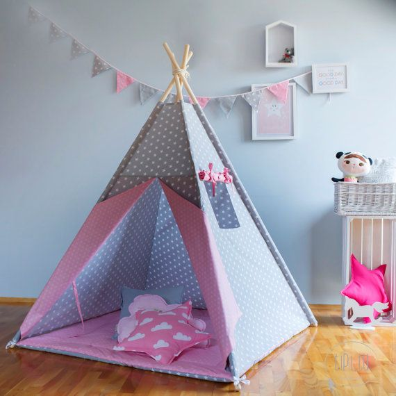 Teepee Grey Stars And Pink Dots Tipi Children S Teepee Playtent