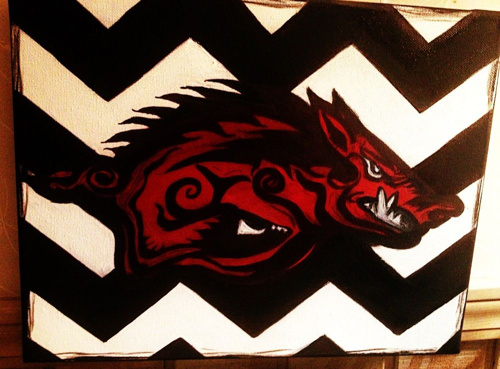 Black and white chevron with red razorback :) not done yet