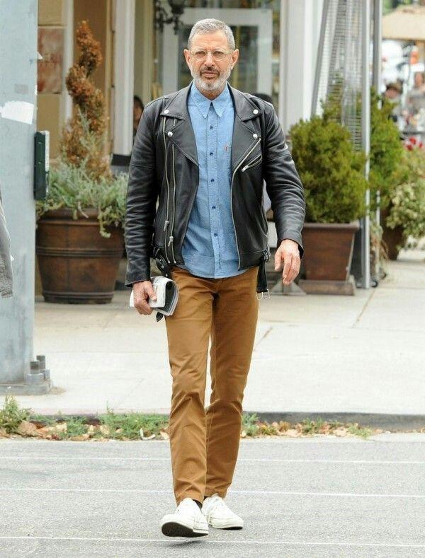 Jeff Goldblum wearing Levis orange tab shirt, Oliver people's glasses and 1970s converse. #hellodaddy