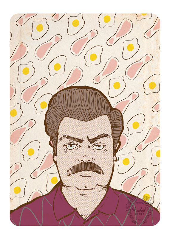 RON SWANSON - Portrait - Parks and Recreation Illustration - Moustache - Gift For Him - TV Show - Eggs and Bacon - Maroon - Brown