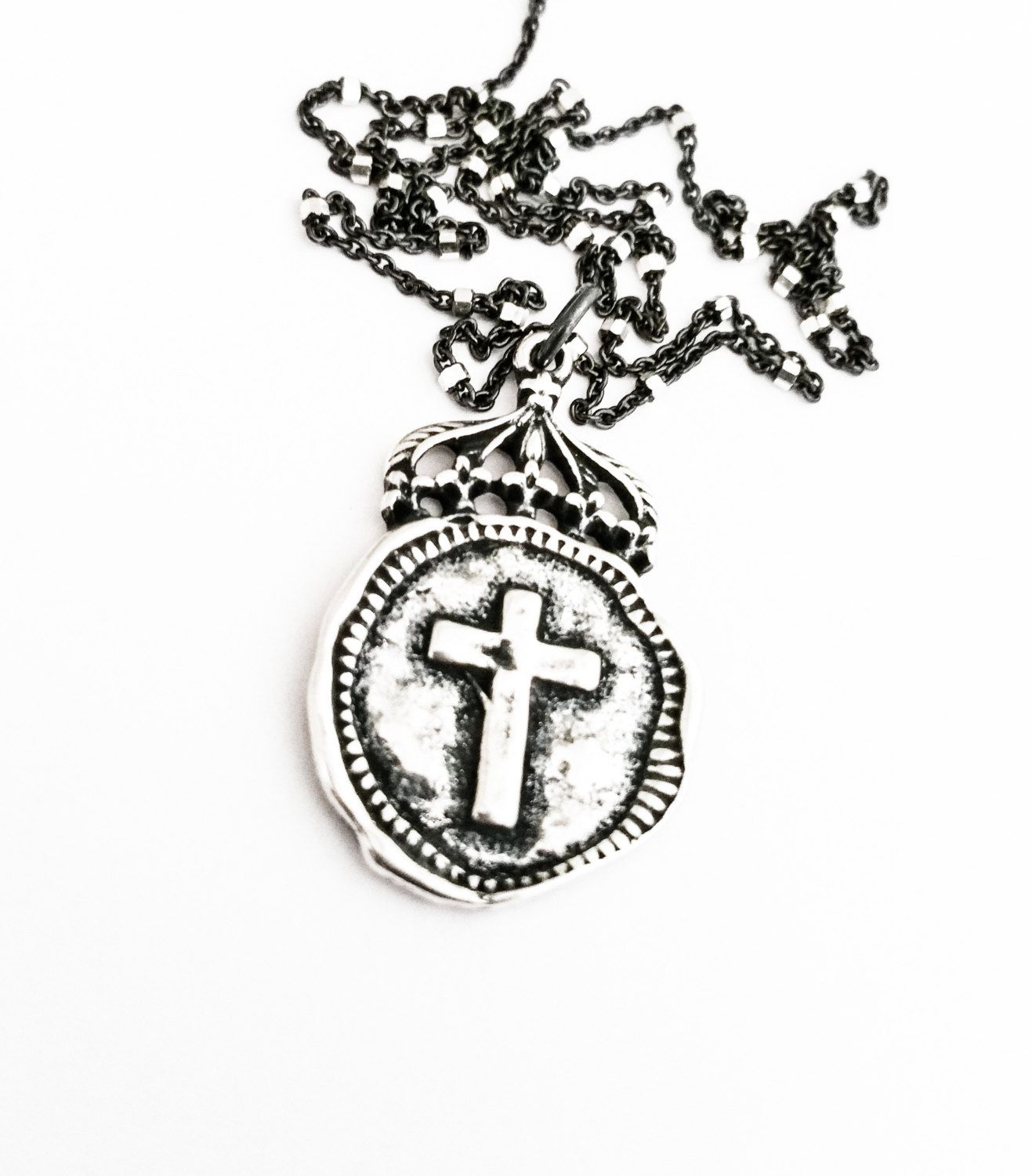 Silver Cross Coin Charm Necklace Vintage Style Bohemian Coin Jewelry Pendant Rhodium Layering Free USA Shipping - pinned by pin4etsy.com