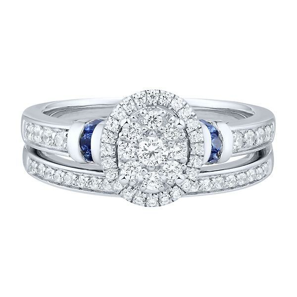 934d3e3e71cce 1/2 ct. tw. Multi-Diamond & Blue Sapphire Engagement Ring Set in 10K ...