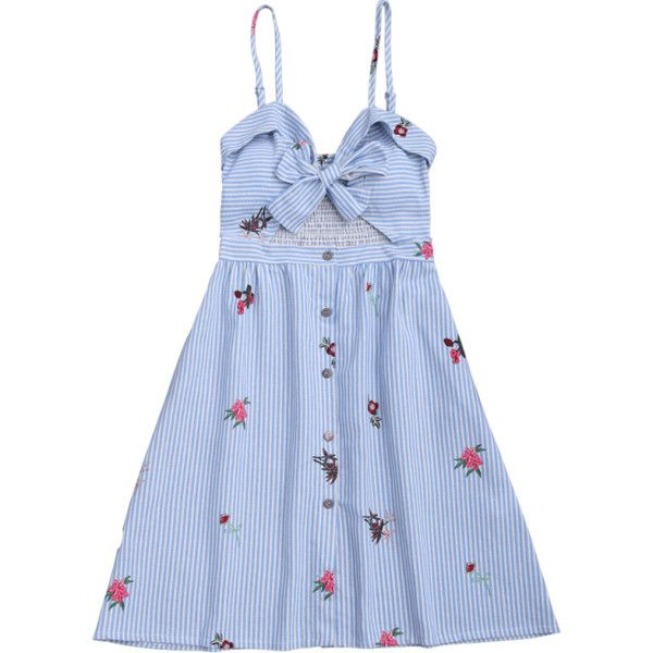 Bowknot Smocked Cut Out Slip Dress (€14) ❤ liked on Polyvore featuring dresses, multi-color dresses, blue slip dress, blue cut out dress, blue pattern dress and pattern dress