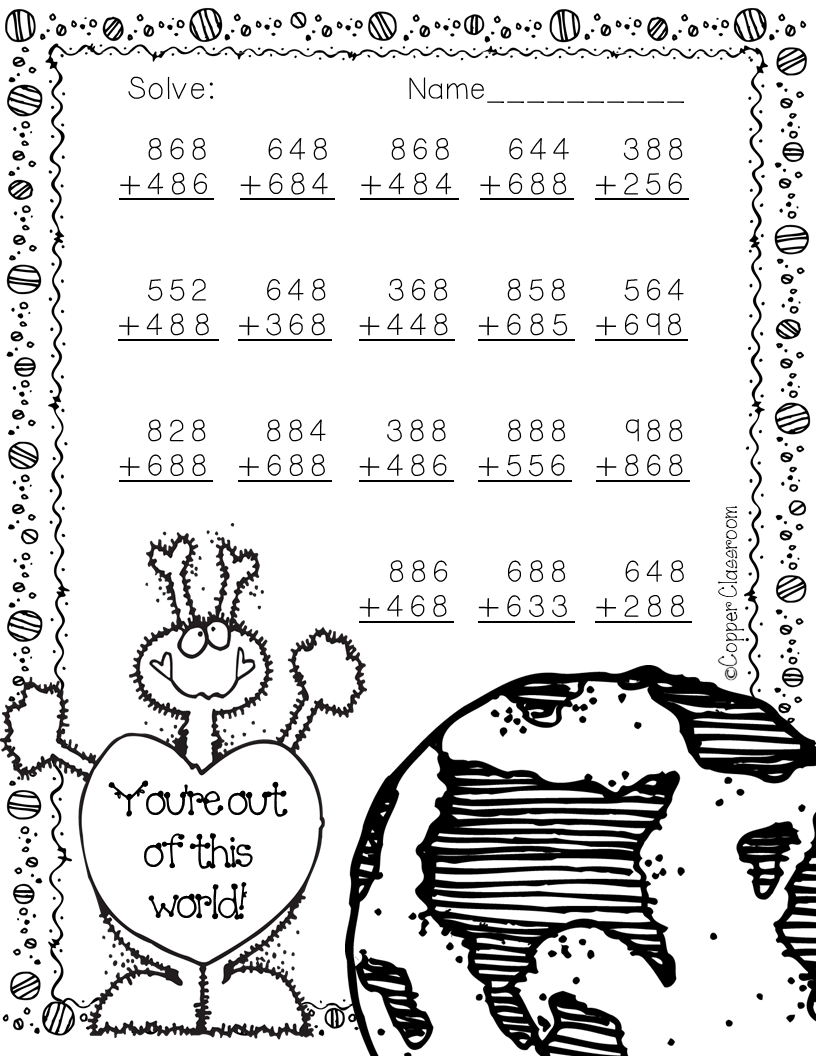 3.NBT.2 Valentine's Day Themed 3-Digit Addition with