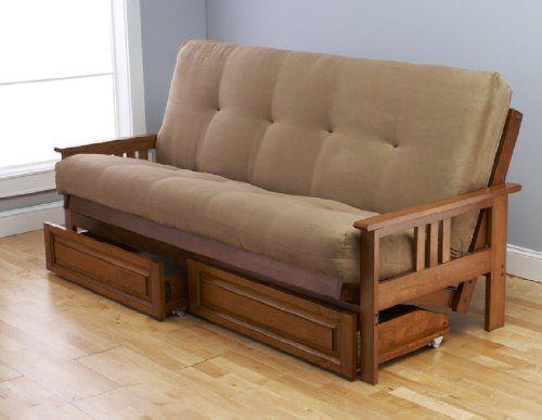 Reclining Sofa Futon Complete w Drawer Set Eldorado Medium Oak Frame w Mattress Innerspring Futon FrameBed SetsSofa