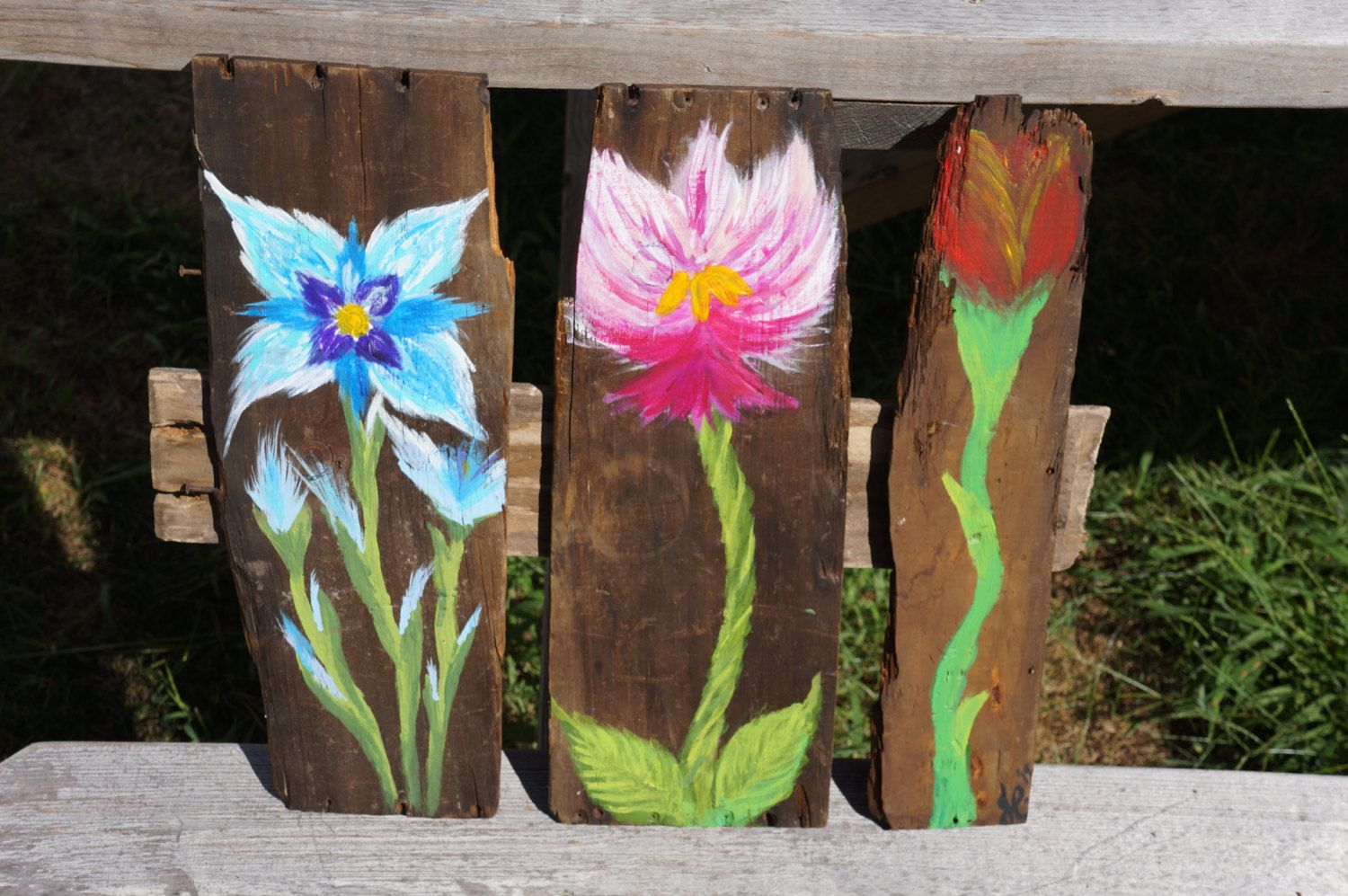Reclaimed wood floral wall painting